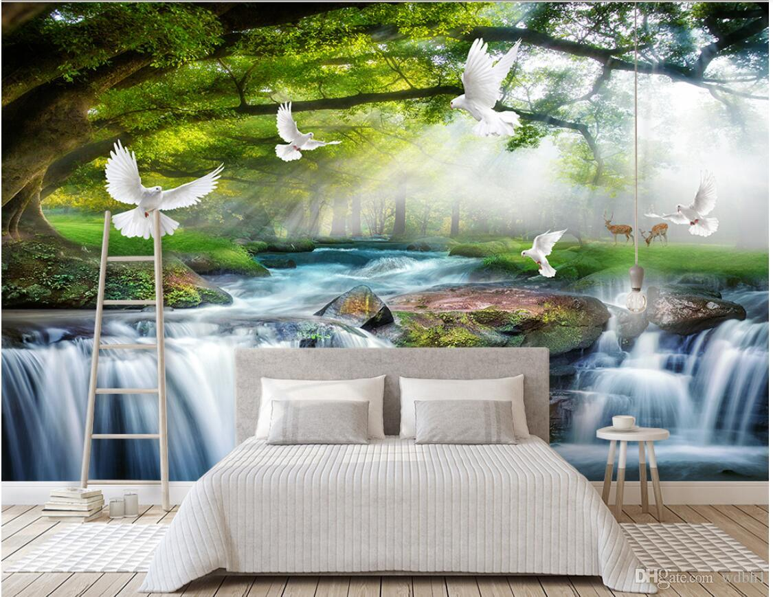 3d wallpaper custom photo Simple and leisure green tree forest waterfall landscape dove background wall 3 d
