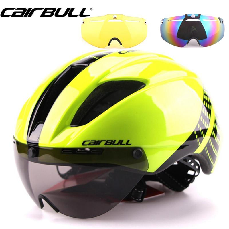 4ab98944 CAIRBULL 3Lens Aero Cycling Helmet In Mold Goggles Road Bike Bicycle Sports  Safety Helmets Riding Mens Time Trial Helmet 54 58cm Y1892908 UK 2019 From  ...