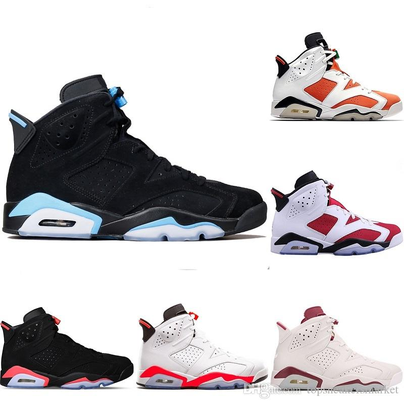 e899373aa294e1 Acheter 2018 Nouveau Designer 6 Basketball Chaussures Hommes 6 S Formateurs  Unc Gatorade Noir Chat Infrarouge Blanc Carmine Maroon Hommes Sport  Sneakers ...