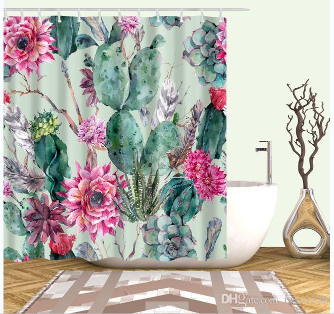 2019 Cactus Plant Watercolor Bathroom Cartoon Shower CurtainsFabric CurtainThin Curtain12 Hooks12 RingsWaterproof180cm 7171 From Mxc1256