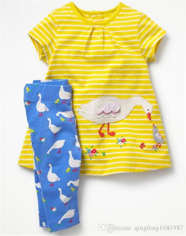 New children baby girl suit Knitted cotton cartoon embroidered short sleeve skirt leggings set D18