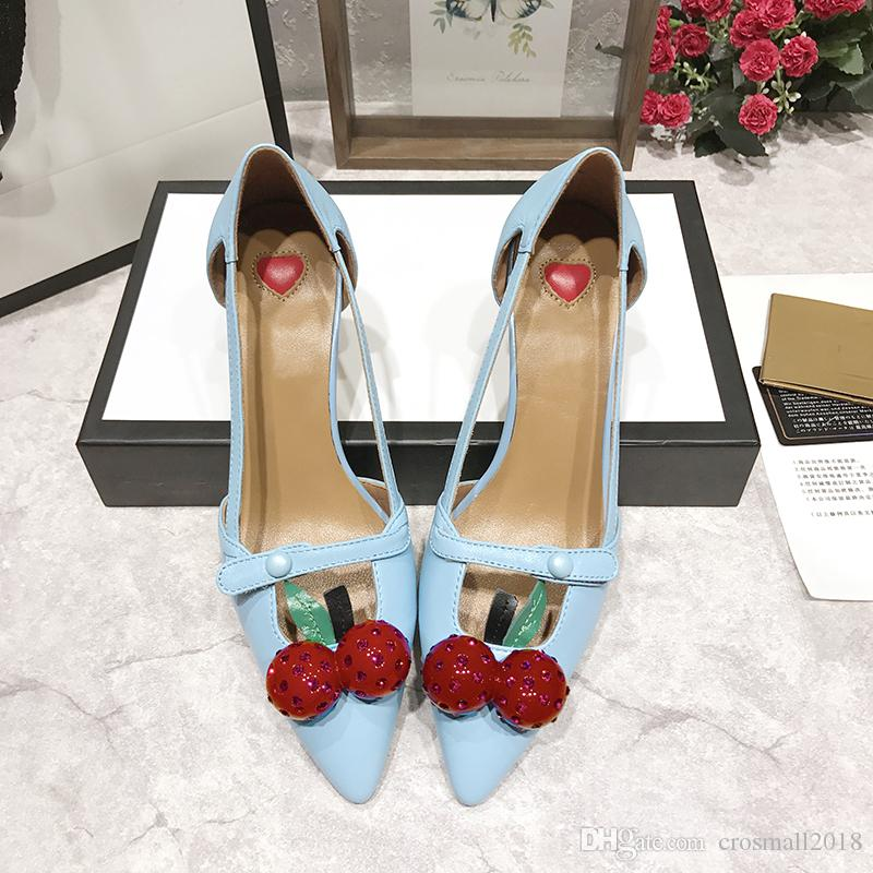 Spitz Zehen Sandaletten Damen Sommer Pumps Solid Printed Cherry Schnalle Einzelschuh Slip-on Loafers Stiletto aus echtem Leder Schuhe