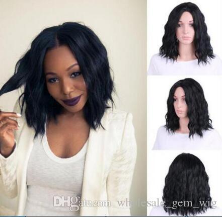 Großhandel Afroamerikaner Kurze Gewellte Frisur Schwarz