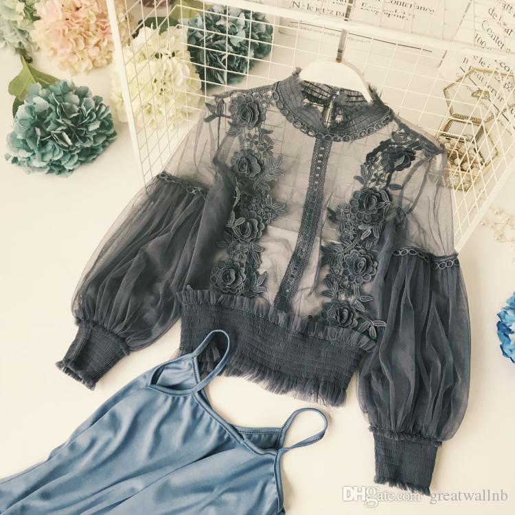Freeship Damen Vintage beiläufige gekräuselte Laterne Ärmel Stehkragen Mesh und Spitzenstickerei Blusen mit Innendeckel / Blusen