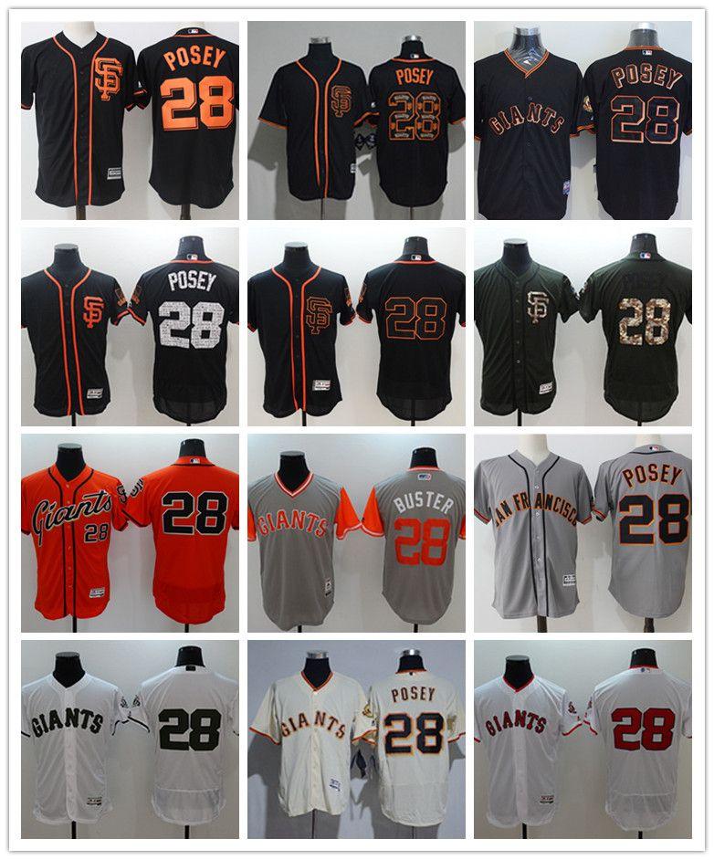 get cheap e5859 f9fe2 custom Men's women youth San Francisco Giants Jersey #28 Buster Posey Home  Orange Grey White Baseball Jerseys