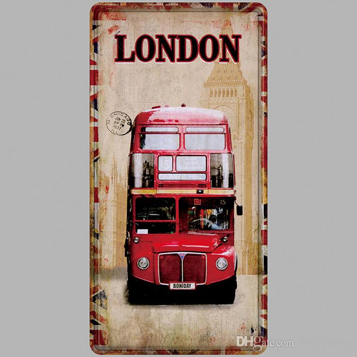 LONDON BUS Vintage Metal Tin Signs Car Number License Plate Plaque Poster Bar Club Wall Garage Home Decoration