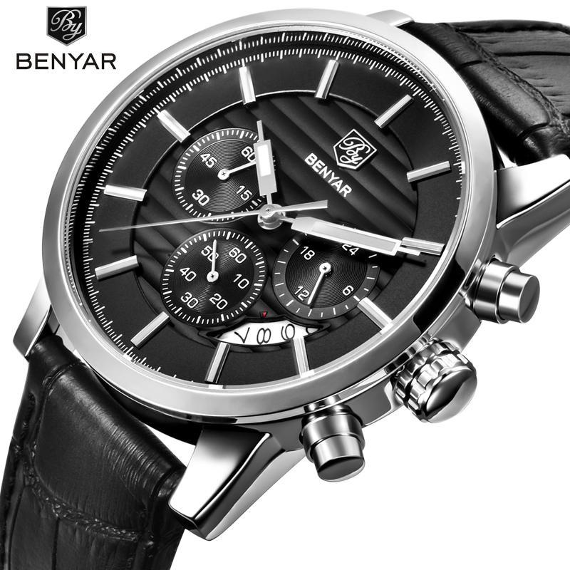 ce86cf82d614 Compre BENYAR Correa De Cuero De Moda Cronógrafo Deportes Relojes Para  Hombre De Primeras Marcas De Lujo Reloj De Cuarzo De Negocios Reloj  Masculino Relogio ...