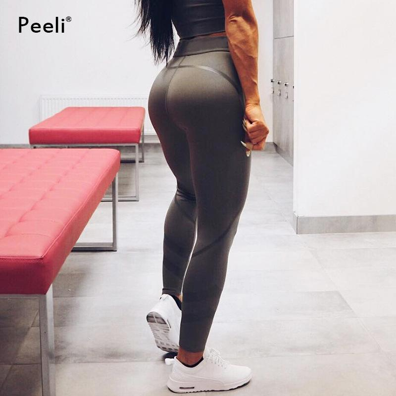 accb1417b57e Patchwork Push Up Yoga Pants High Waist Women Fitness Gym Pants ...