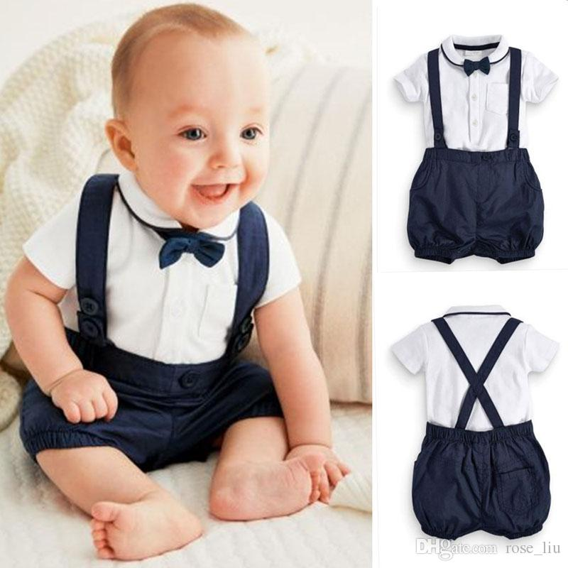 c766b1fdc 2019 Newborn Baby Boy Outfits Cute Cotton T Shirt And Overalls Set ...