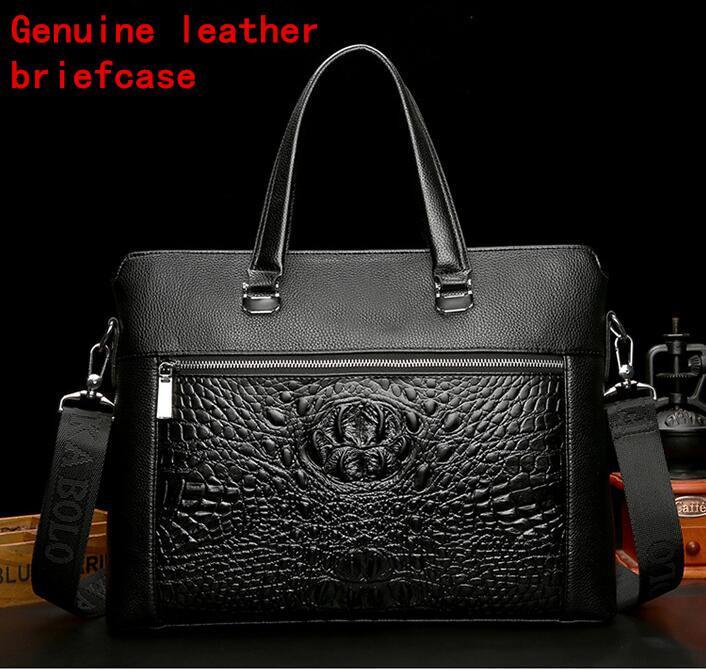 Factory Own Brand Men Bag Fashion Crocodile Pattern Leather Handbag ... a6678309d5eb2