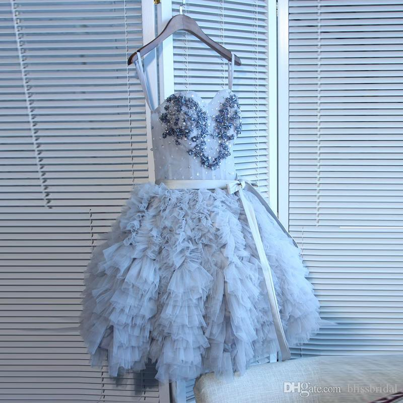 7cd0a9df151 Beautiful Dusty Blue Spaghetti Tiered Party Dresses With Beaded Crystal  Ruffle Tutus Homecoming Dress Lace Up Back Short Tulle Prom Gown Navy Party  Dress ...
