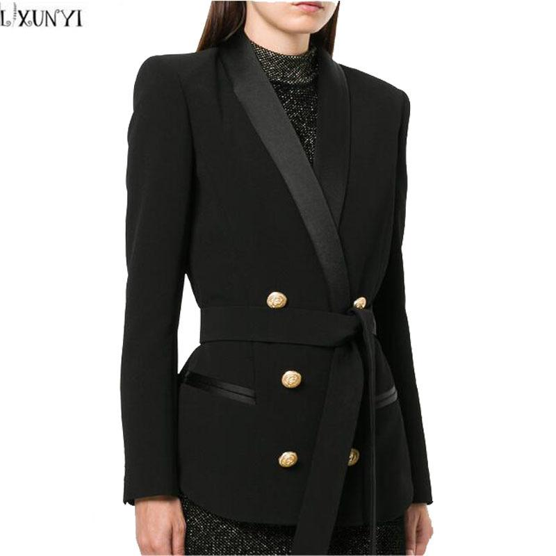 286223782cdef 2019 LXUNYI Ladies Double Breasted Blazer With Belt 2018 Spring Metal Buttons  Women Blazers And Jackets Office Slim Formal Suit Coat L18101303 From  Tai03, ...