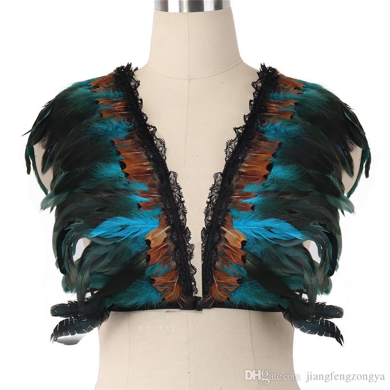 Vücut kafes Kadınlar için Koşum Goh Vücut Esaret Parantez Harajuku Koşum tüy bel jartiyer elastik ücretsiz sutyen gotik giysi