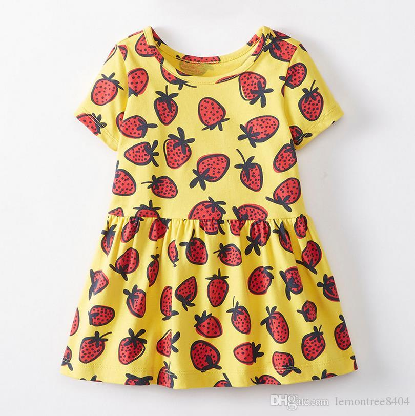 Summer dresses for girls o neck 18M-6 years party costumes for kids strawberry pattern baby girl clothes dresses baby clothing Made In China