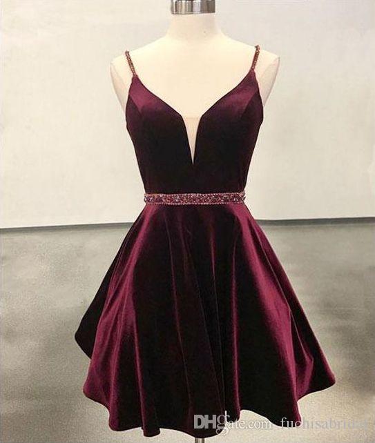 470e1e864308 Sheer Deep V Neck Velvet Short Homecoming Dress Knee Length Semi ...