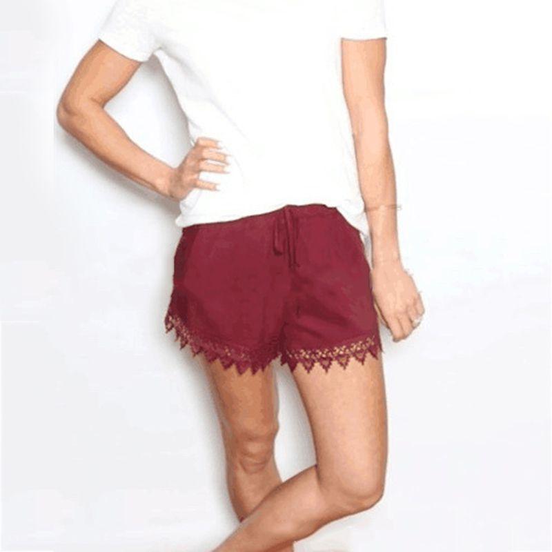 6a91ae04f3 Compre Mulheres Shorts Sólidos Verão 2019 Lace Emendados Calças Curtas Moda  Calções De Fitness Venda Quente Solto Para Meninas Mid Cintura Roupas  Femininas ...