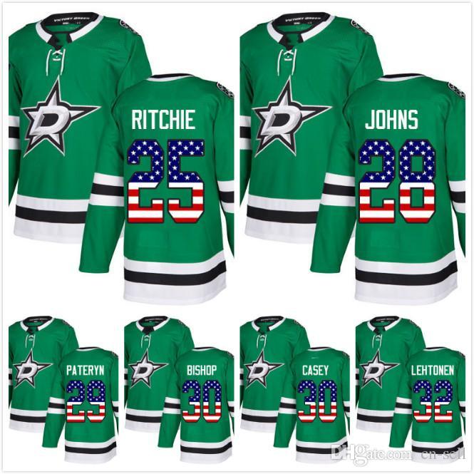 2019 2018 Dallas Stars 30 JON CASEY 30 Ben Bishop Kari Lehtonen Greg  Pateryn Brett Ritchie Stephen Johns USA Flag Hockey Jersey Men Womens Youth  From Cn ... 72263d3d1