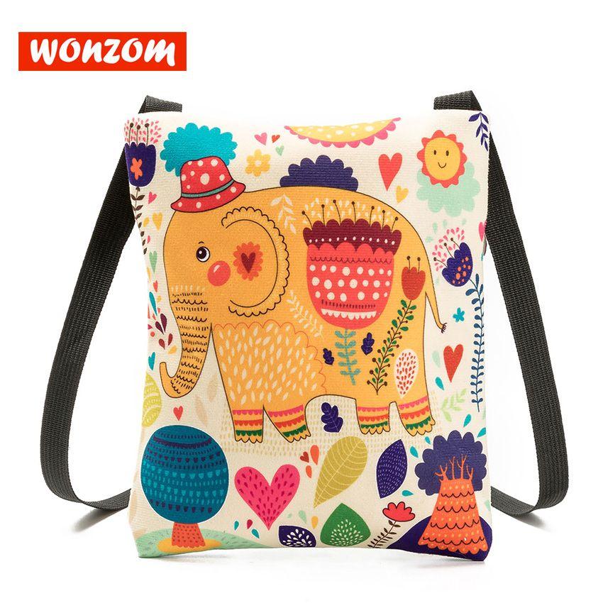 81e707aa41f8 WONZOM Women Mini Canvas Messenger Bags Summer Casual Cartoon Printing  Shoulder Bags Animal Prints Zipper Versatile Small