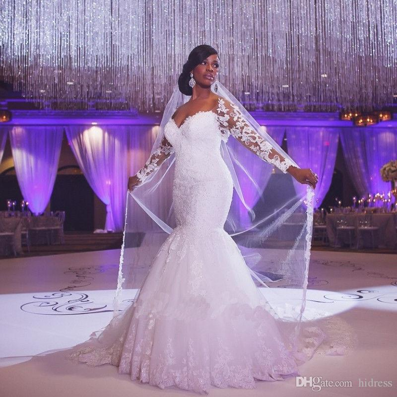 African Off-Shoulder Long Sleeves Lace Fishtail Skirt Appliques Lace Custom Made Mermaid Wedding Gowns Cheap Plus Size Bridal Dress