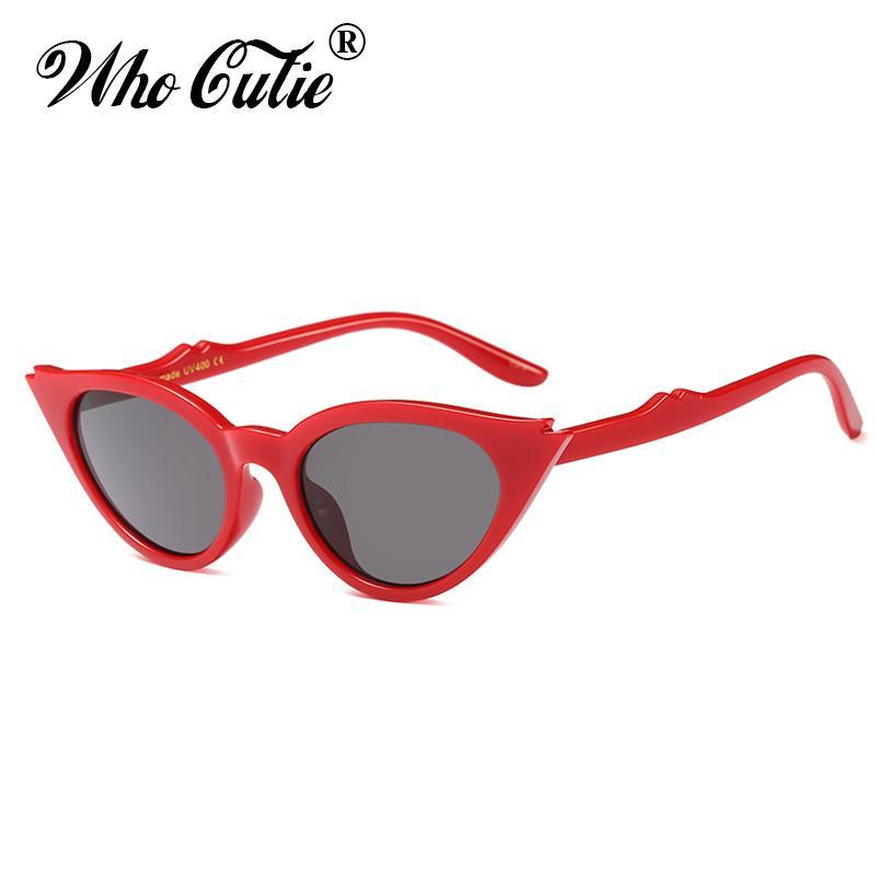 9a010e7b63 WHO CUTIE 2018 Vintage Red Cat Eye Sunglasses Women Sexy Leopard Frame Retro  Triangle Black Cateye Sun Glasses UV400 Shades 554 Baseball Sunglasses John  ...