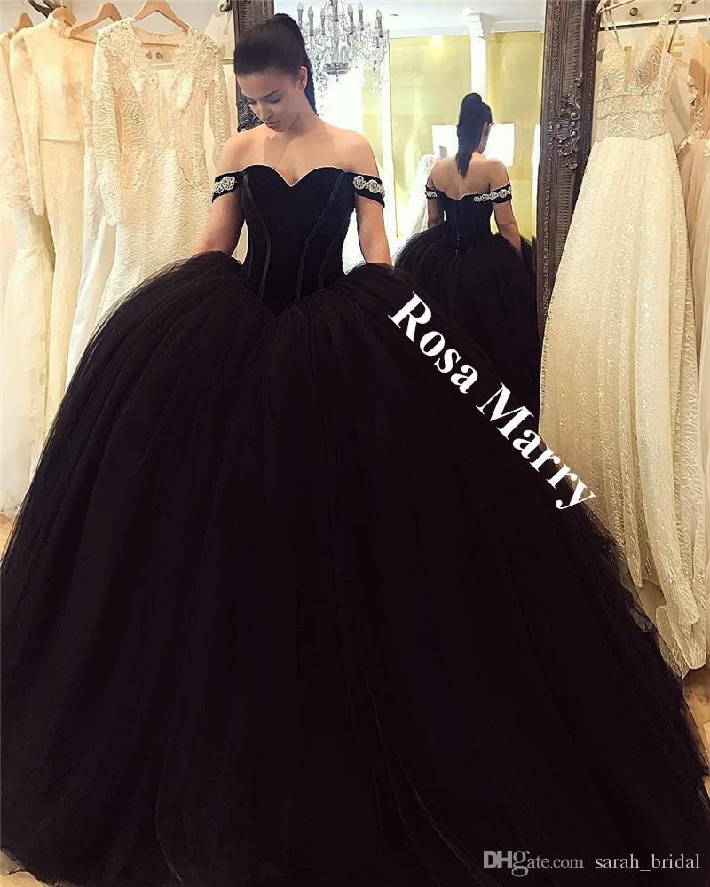 Gothic Black Ball Gown Arabic Prom Dresses 2018 Off Shoulder Velvet ...