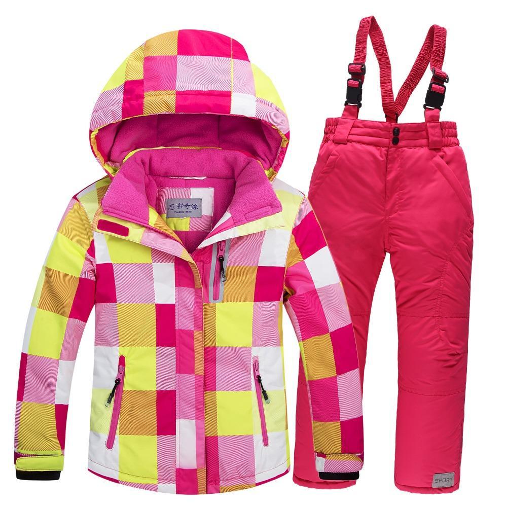 c4606b72576f 2019 Boy+Girl Ski Jacket+Pants Set Winter Snowboard Clothes ...