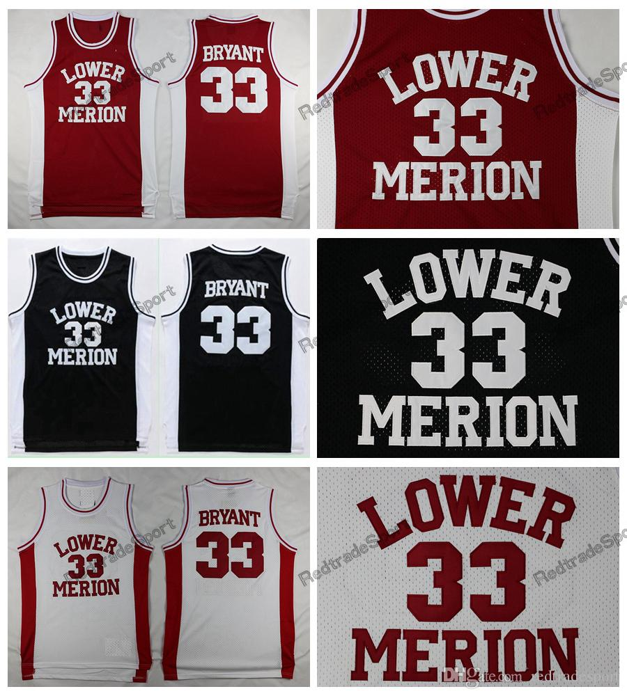 b2640efa8 2019 Mens Vintage 33 Kobe Bryant Lower Merion High School Basketball  Jerseys Red Black White Cheap Kobe Bryant Stitched Shirts From  Redtradesport