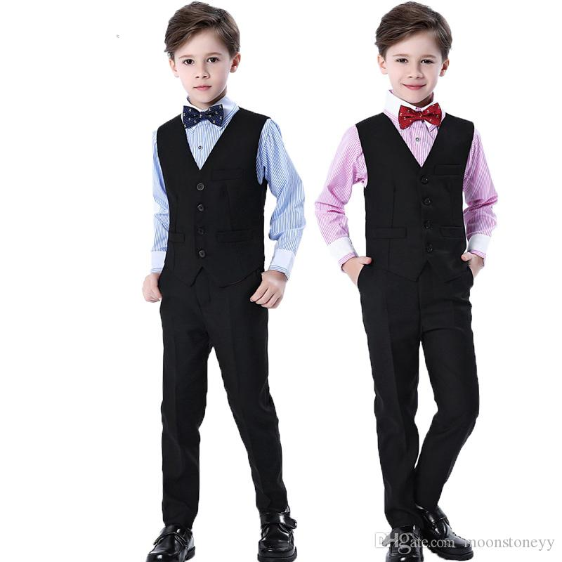 7ae99bf6a50e 2019 Brand Flower Boys Formal Wedding Suit Campus School Student Dress  Gentleman Kids Vest Shirt Pants Bowtie Ceremony Costumes From Moonstoneyy,  ...