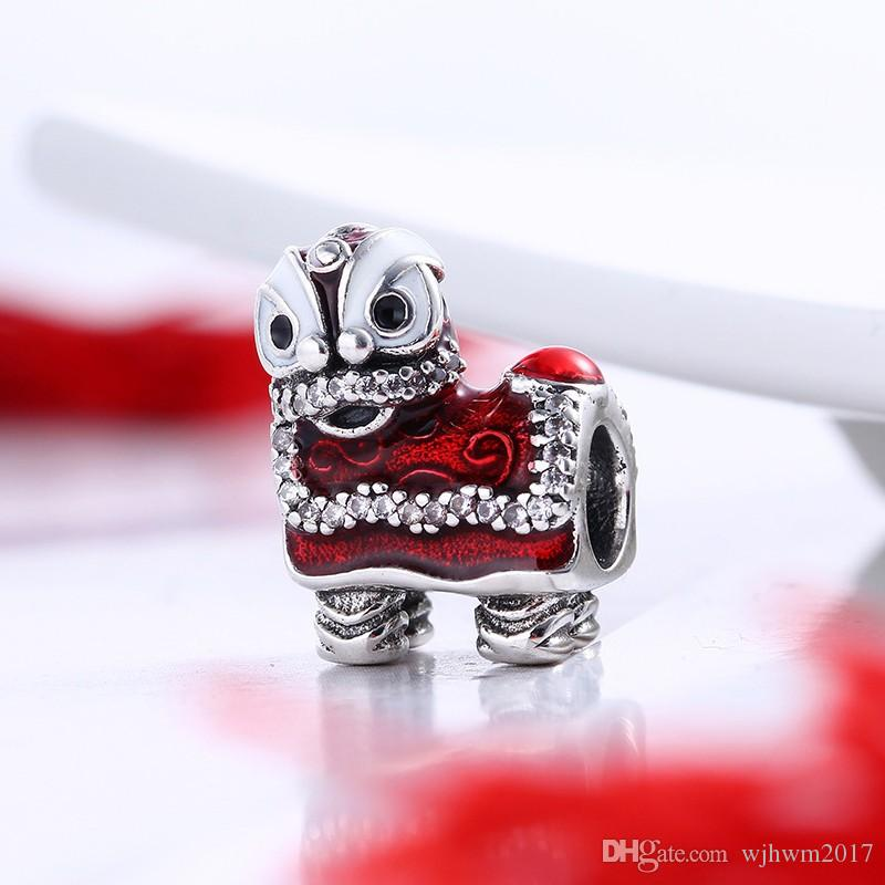 Valentines Chinese Lion Dance Charms Bead Authentic 925 Sterling Silver Jewelry Enamel Animal Beads For DIY Brand Bracelets Accessories