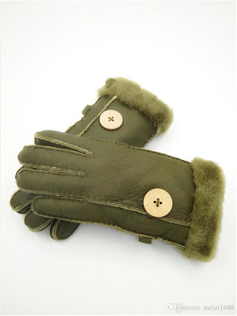 Wholesale - New women winter Leather Gloves Genuine Leather Quality Youth Wool Gloves Warm Comfort Free Shipping