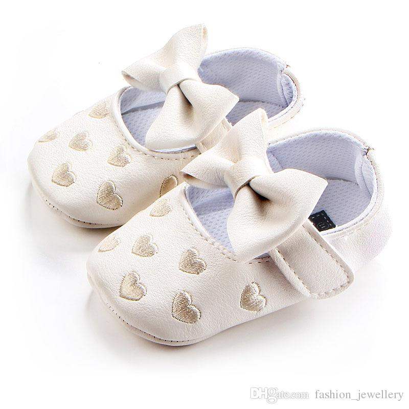 c8707d707ec7f 2019 Big Bow Embroidery Love Pu Leather Baby Girl Shoes Non Slip Soft Soled  Footwear For Newborn Crib Shoes Toddler Girls Shoes  From  Fashion jewellery