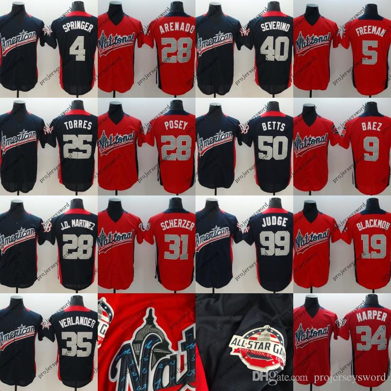 2019 Mens American National League Jersey 1 Ozzie Albies 4 George Springer  9 Javier Baez 25 Gleyber Torres 40 Luis Severino 2018 All Star Jerseys From  ... e5c2be6838b0