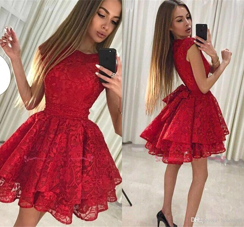 51c8f701194 Jewel Neck Little Red Short Homecoming Dresses 2019 New Full Lace Short  Cocktail Formal Party Dress Vintage Short Prom Dress BA9963