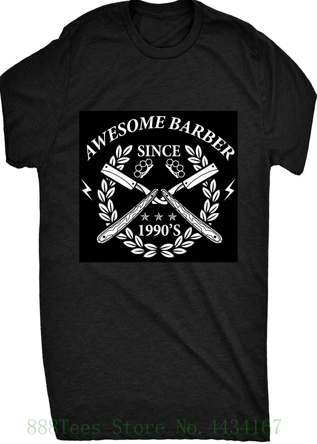 Awesome Barber Since 1990 Mens T Shirt Men's High Quality Custom Printed Tops Hipster Tees