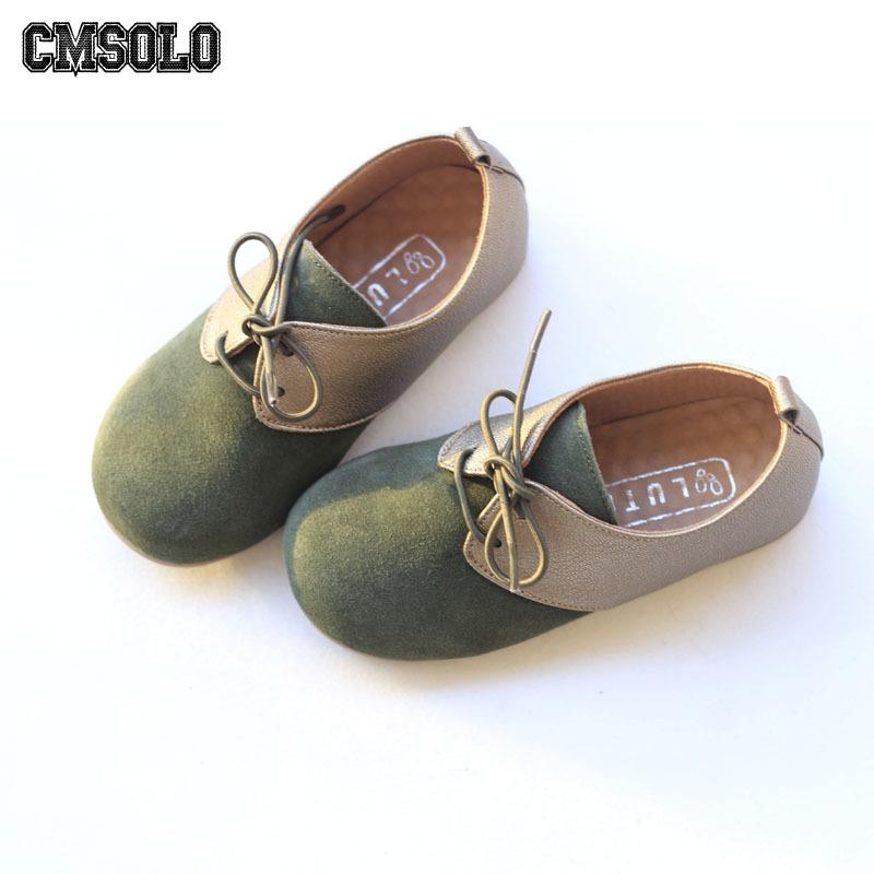 f07f44004e9 Compre CMSOLO Zapatos De Moda Para Niños Con Cordones Niños Niñas Zapato  Casual Primavera Otoño Partido Escuela Calzado De Cuero Niño Tamaño 27 33  Nuevo ...