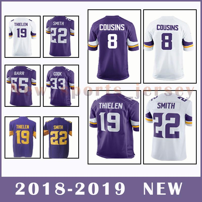 wholesale dealer a0248 e1ff2 Minnesota Vikings Jersey 8 Kirk Cousins 19 Adam Thielen 22 Harrison Smith  Men's football jerseys 2018-2019 NEW