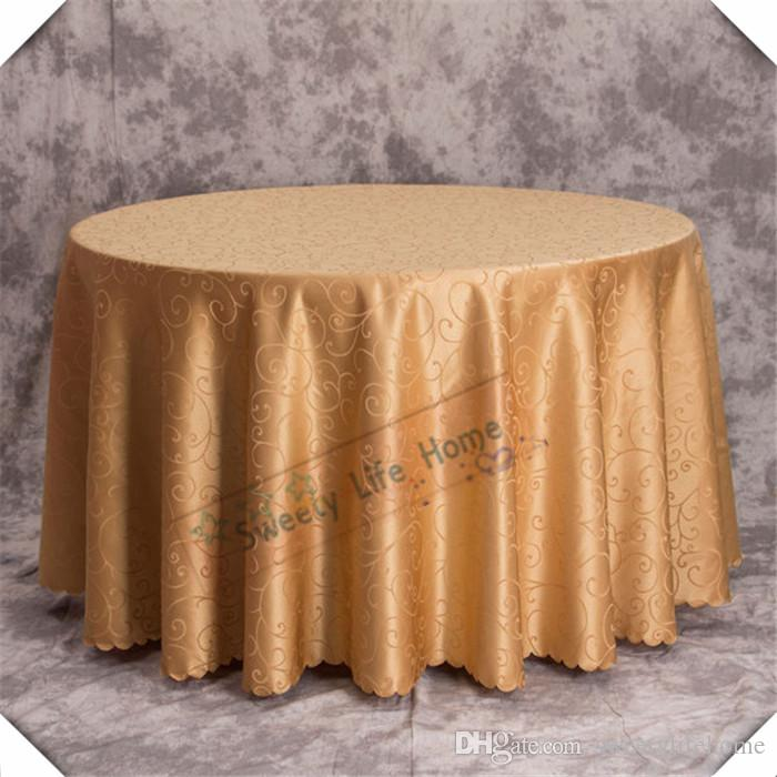 Hot Sale Gold Jacquard Printed Flower Tablecloth Damask 230cm Round