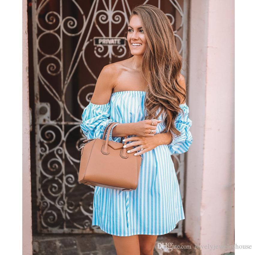 2018060528 New blaue gestreifte dres trägerlos Hauchhülse Sommerkleid lose beiläufige Kleid der hohen Taille Schärpen Partykleid vestidos