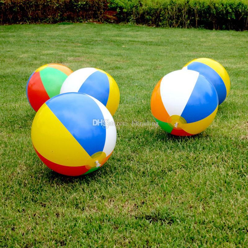 Beach Ball New Inflatable Striped Rainbow Beach Ball Outdoor beach Ball Water Sports Balloon For Children 23cm C4450