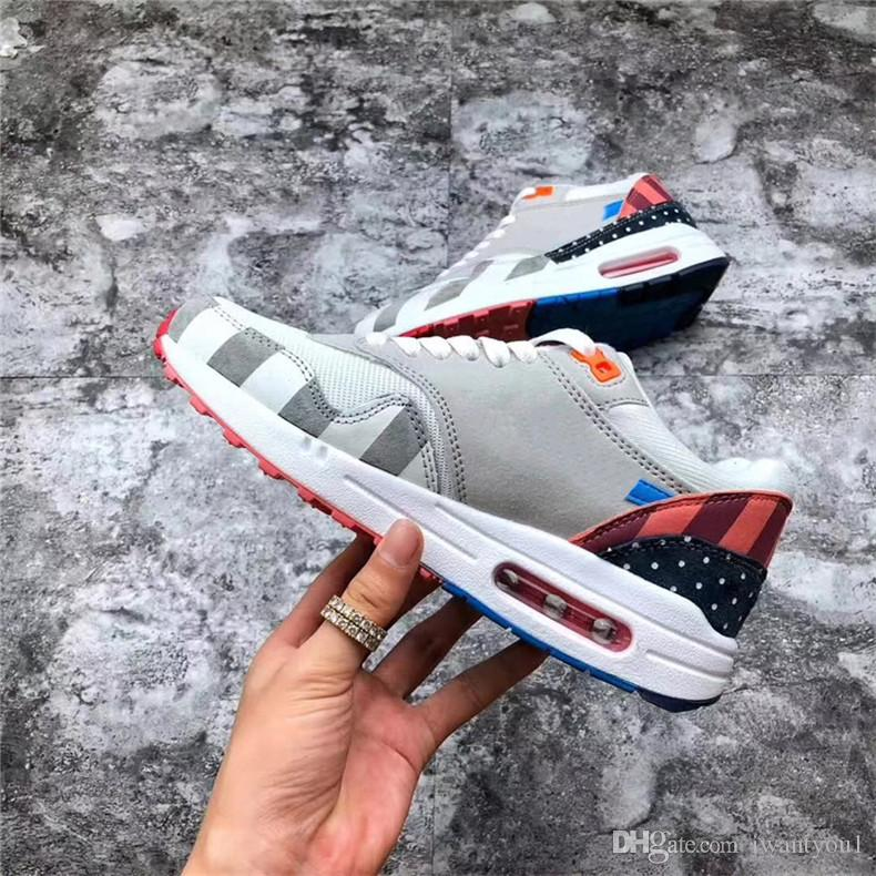 new concept 19477 69ee1 Cheap Authentic Piet PARRA Air2018Max 1 Grey White Pink Blue Men Women  Running Shoes Best Quality Sneakers Sports With Original Box AT3057 100