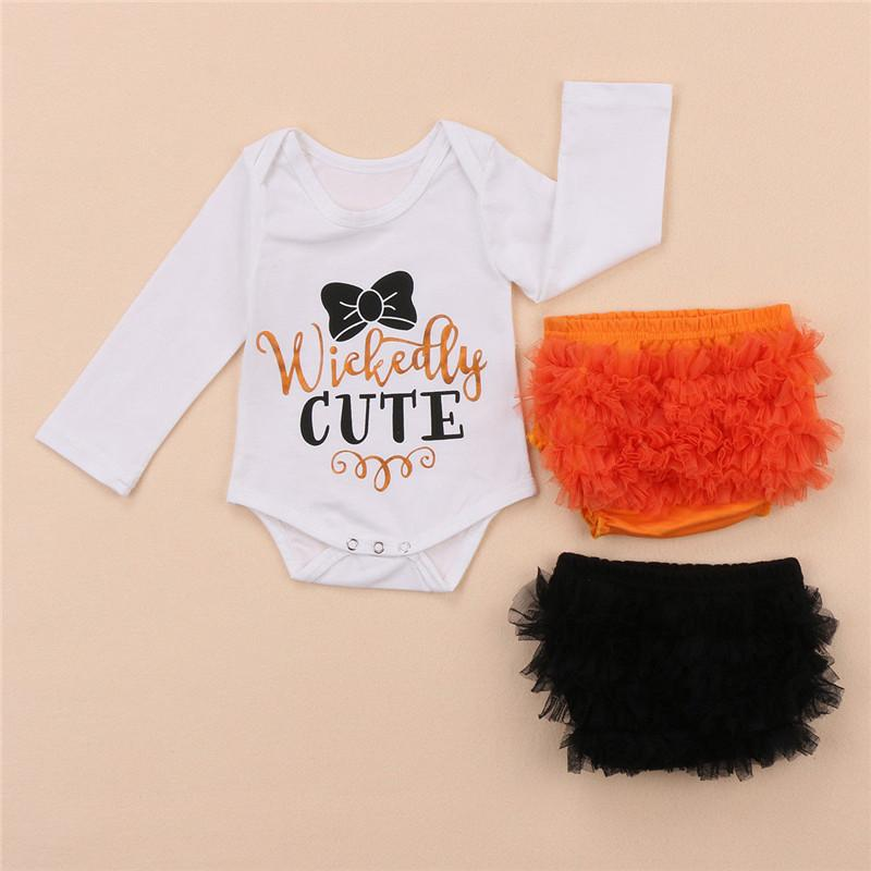 2019 Infant Baby Girls Clothes Set Letter Long Sleeve Bodysuits   Mesh Floral  Short Pants Outfits Party Clothes Set From Cornemiu de0583ba8