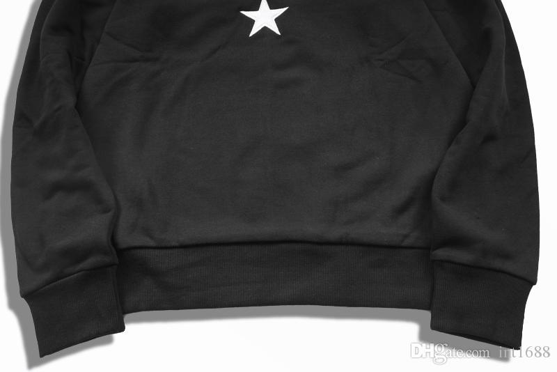 2018 جديد أزياء الرجال النساء هودي كم طويل قميص مطرز نجوم الشريط القطن مقنع هوديس الرجال البلوز الذكور البلوز