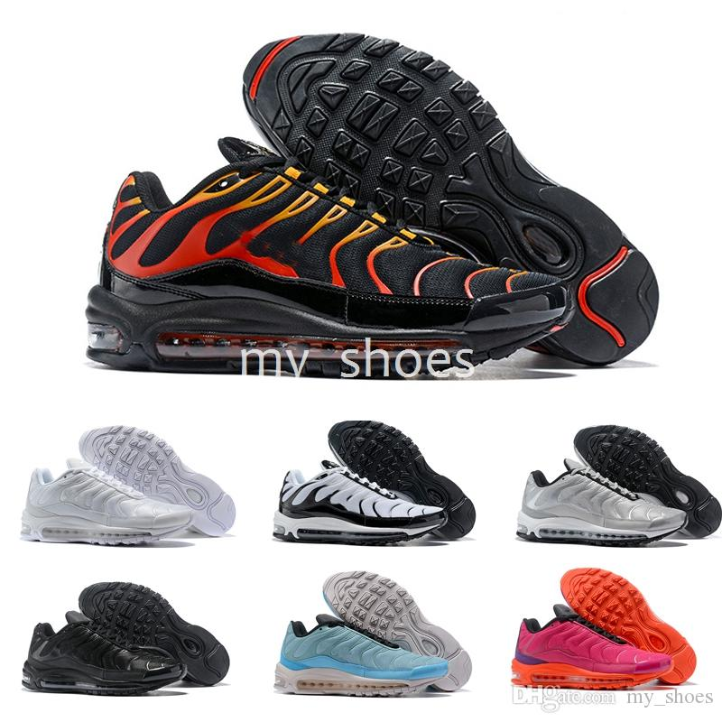 newest 9f284 41063 2018 New Running Shoes for Mens 97 Plus Tn Brand Maxes Black White Sliver Air  Shoes Sports Brand 97s Tns Men Trainers Sneakers Air Shoes 97 Tn Shoes 97  ...