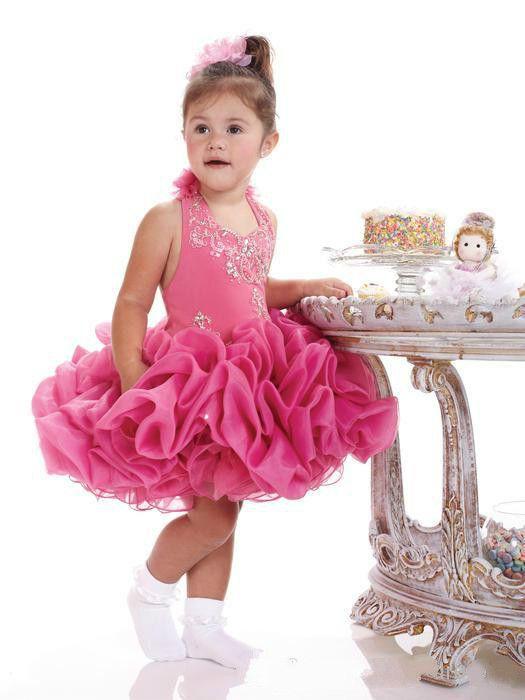 Halter Ruffle Beads Cupcake Short Birthday Girls Pageant Dresses 2018 Girl Communion Dress Kids Formal Wear Flower Girls Dresses for Wedding