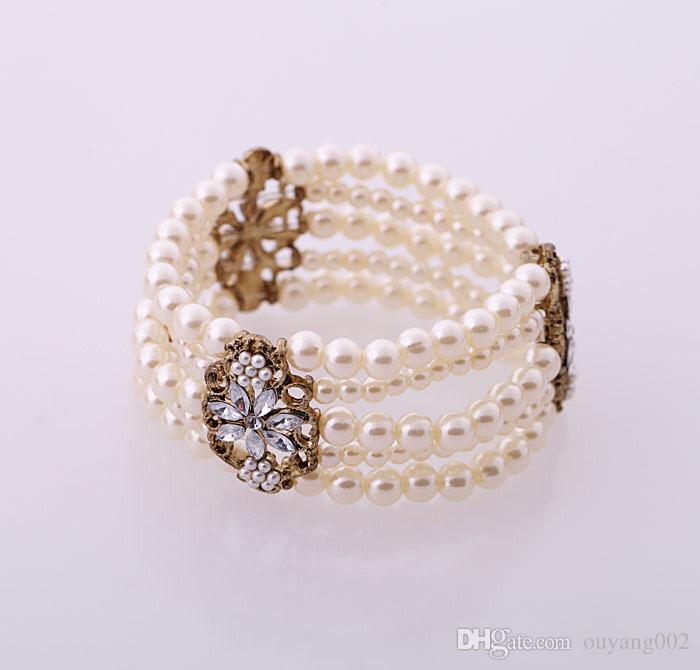Dame multicouche bohème bracelet de perles de cristal pendentif charme plage extensible bracelet bracelet ensemble de bijoux pour les femmes