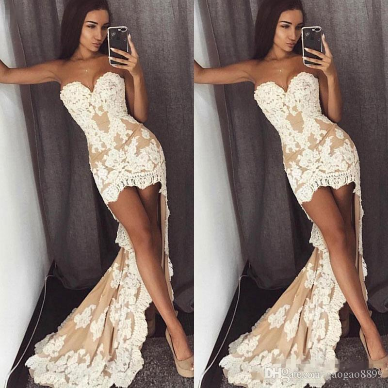 2019 Sexy Lace A Line Prom Dresses Long Hi Lo Sweetheart Front Short Back Long Plus Size Dresses Evening Party Wear Custom Made