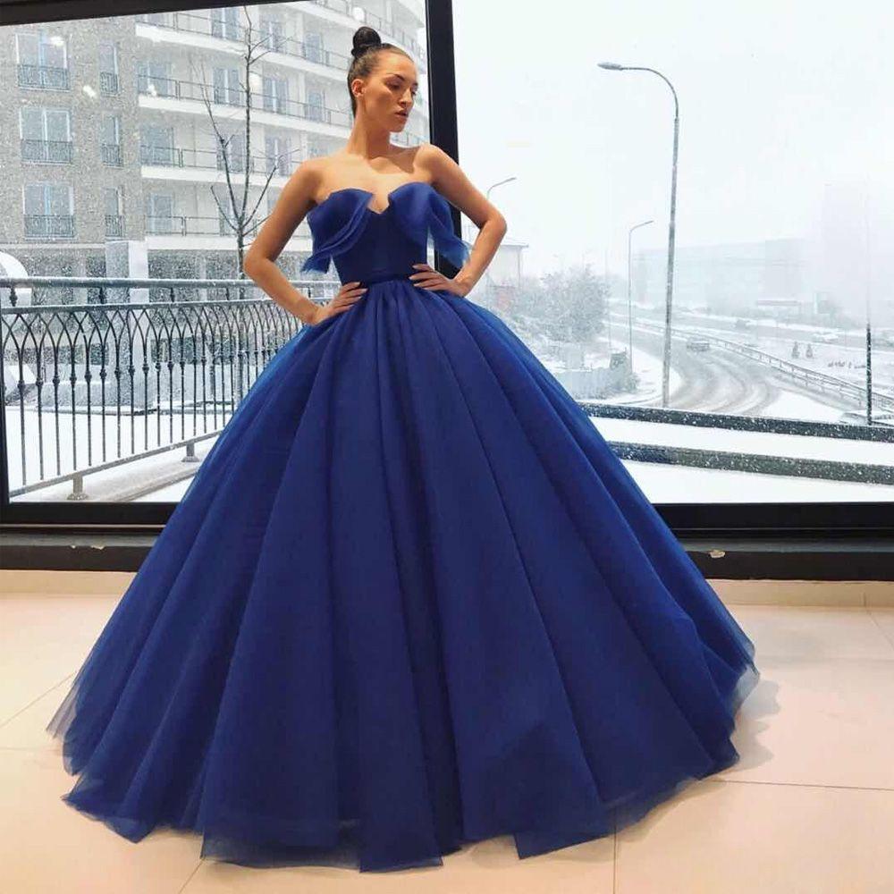 af1d9843c1e Acheter Robes De Soirée Robe Bleu Royal De Bal Chérie Profonde Volants À  Paliers En Tulle