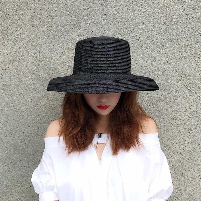 784f8dbfe15 Audrey Hepburn Straw Hat Sunken Modelling Tool Bell Shaped Big Brim Hat  Vintage High Pretend Bility Tourist Beach Atmosphere Sun Hats For Women  Trilby Hats ...
