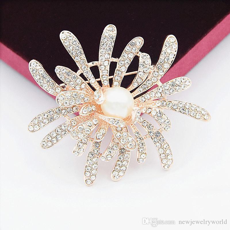 Luxury Stunning Diamante Frauen Blumen Brosche Elegante Hochzeit Brautstrauß Broach Pin Neue Design Nachgemachte Perle Und Kristalle Schal Pin
