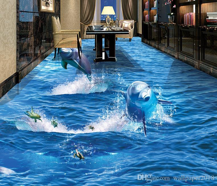 Delphin aus dem Wasser Ozean 3D Stereo Badezimmer Wohnzimmer Bodenfliesen Vinylboden